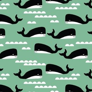 whale whales kids green trendy scandinavian nursery baby whales ocean nautical summer tropical