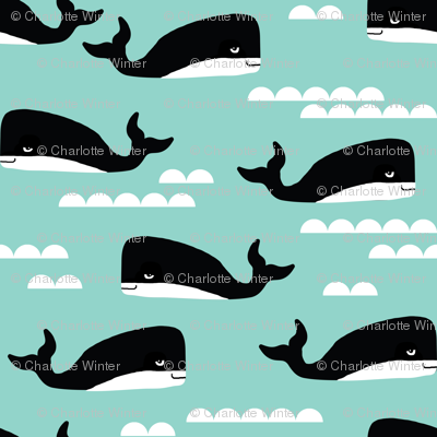 whales whale mint kids ocean summer tropical waters wave