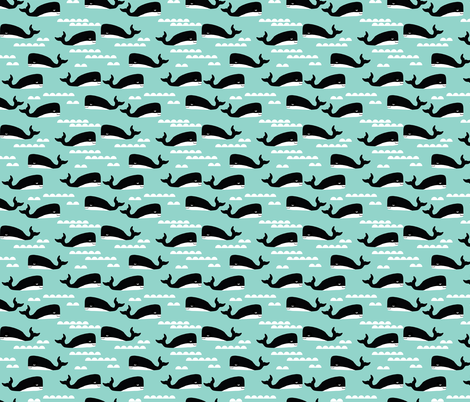 whales whale mint kids ocean summer tropical waters wave  fabric by charlottewinter on Spoonflower - custom fabric