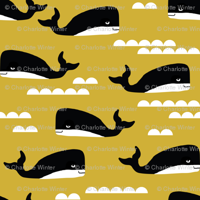 whales whale ocean nautical summer mustard yellow kids gender ...