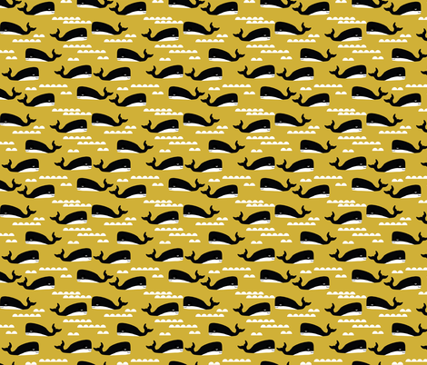 whales whale ocean nautical summer mustard yellow kids gender neutral cool scandinavian kids design fabric by charlottewinter on Spoonflower - custom fabric