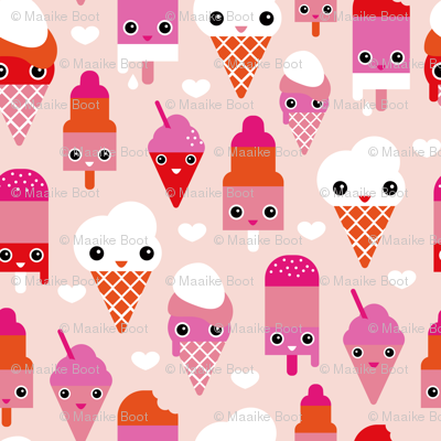 Colorful sweet summer ice cream popsicle sugar pink kawaii illustration