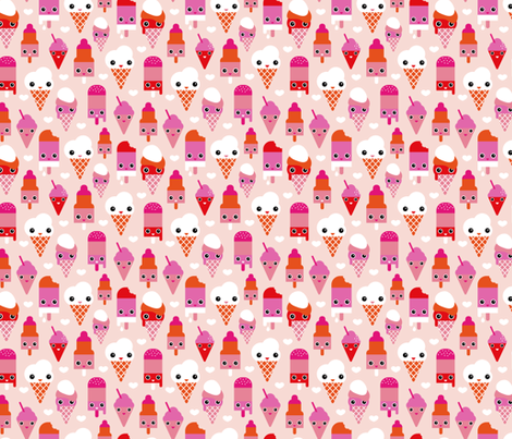 Colorful sweet summer ice cream popsicle sugar pink kawaii illustration fabric by littlesmilemakers on Spoonflower - custom fabric