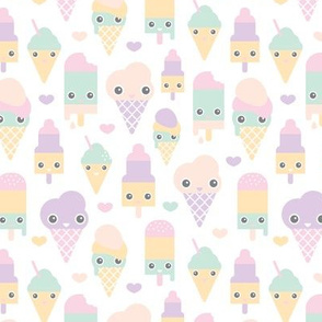 Colorful sweet summer ice cream popsicle sugar pastel kawaii illustration