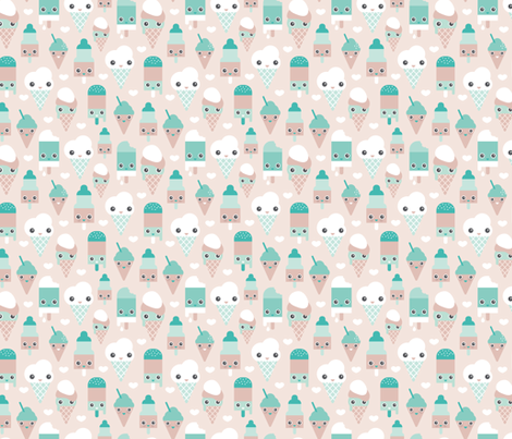 Colorful sweet summer ice cream popsicle sugar pastel kawaii illustration gender neutral fabric by littlesmilemakers on Spoonflower - custom fabric