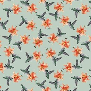 Hummingbird and Orange on Muted Gray-Green
