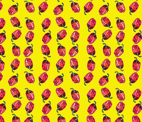 Flaming Yellow Red Peppers fabric by jennyannpaints on Spoonflower - custom fabric