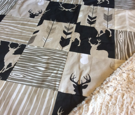 Deer-Black/Tan- Midnight a Woodland - gender neutral nursery- baby boy