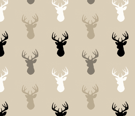 Deer-Black/Tan- Midnight a Woodland - gender neutral nursery- baby boy fabric by sugarpinedesign on Spoonflower - custom fabric