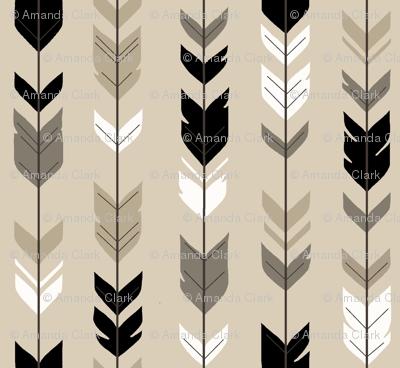 Arrow Feather-Black/Tan Woodland nursery- gender neutral baby boy