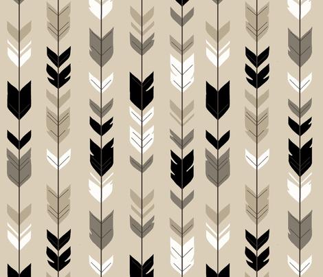 Arrow Feather-Black/Tan Woodland nursery- gender neutral baby boy fabric by sugarpinedesign on Spoonflower - custom fabric