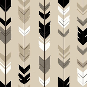 Arrow Feather-Black/Tan Woodland nursery- gender neutral baby boy