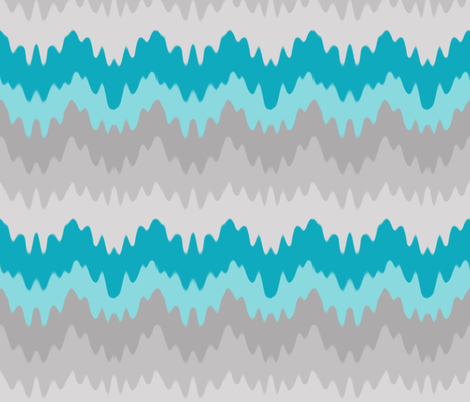Turquoise Teal Blue Grey Gray Ombre Chevron Zigzag fabric by decamp_studios on Spoonflower - custom fabric