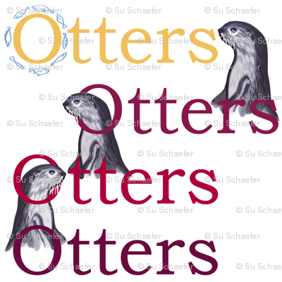 Smooth-coated otters (maroon + gold text) by Su_G