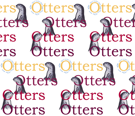 Smooth-coated otters (maroon + gold text) by Su_G  fabric by su_g on Spoonflower - custom fabric