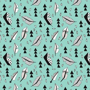 Cool geometric feathers and arrows abstract triangle hand drawn illustration scandinavian style in mint blue black and white XS