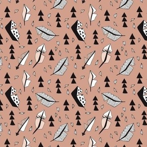 Cool geometric feathers and arrows abstract triangle hand drawn illustration scandinavian style in beige black and white XS