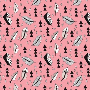 Cool geometric feathers and arrows abstract triangle hand drawn illustration scandinavian style in pink black and white XS