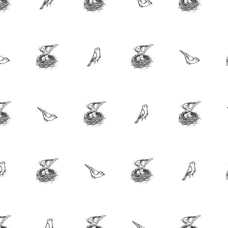 Nesting Bird Sketch - BW (Small) fabric by siya on Spoonflower - custom fabric