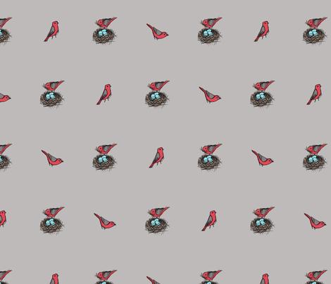 Nesting Bird Sketch - Scarlet Tanager on Gray (Large) fabric by siya on Spoonflower - custom fabric