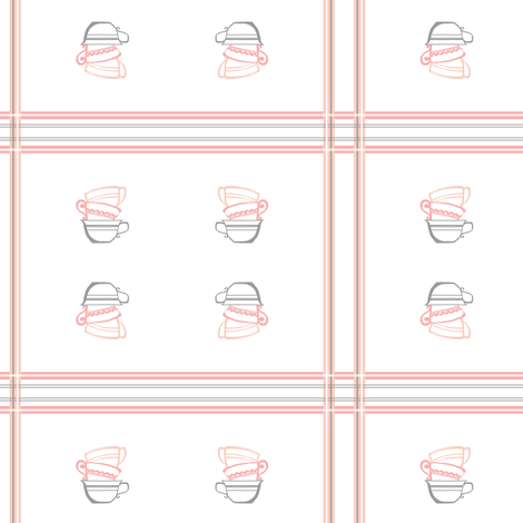 Pink Plaid Stacked Tea Cups fabric by mmarie-designs on Spoonflower - custom fabric