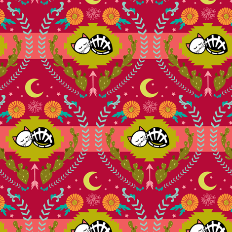 southwest skelly kitty fabric by skellychic on Spoonflower - custom fabric