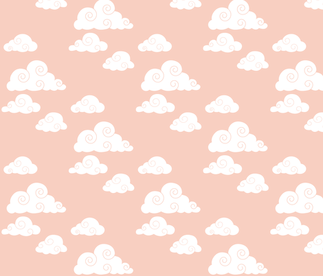 clouds // peach fabric by buckwoodsdesignco on Spoonflower - custom fabric