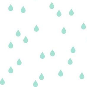 Clouds + Rain - Rain Drops Mint on White