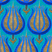 LARGE Tulips woven in old gold on cerulean blue by Su_G