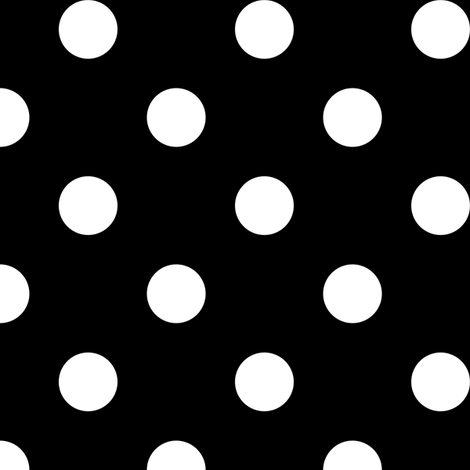 One Inch White Polka Dots on Black fabric by mtothefifthpower on Spoonflower - custom fabric
