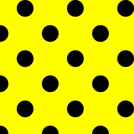 One Inch black Polka Dots on Yellow fabric by mtothefifthpower on Spoonflower - custom fabric