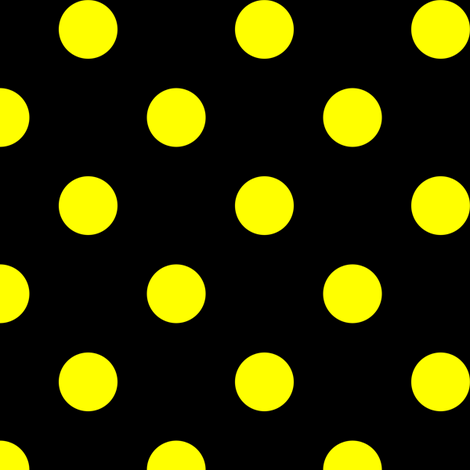 One Inch Yellow Polka Dots on Black fabric - mtothefifthpower ...