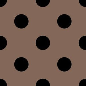 One Inch Black Polka Dots on Taupe Brown