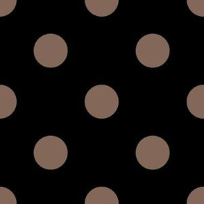 One Inch Taupe Brown Polka Dots on Black