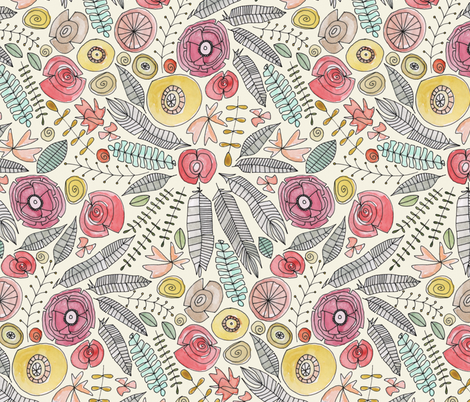 feather fleur watercolor fabric by scrummy on Spoonflower - custom fabric