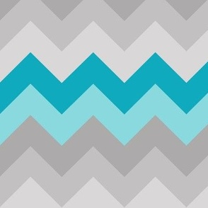 Turquoise Teal Blue Grey Gray Chevron Ombre Fade