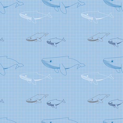 Whales fabric by katfujihara on Spoonflower - custom fabric
