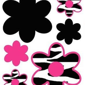 Hot Pink Zebra Floral Animal Print Flower