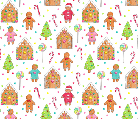 Christmas Gingerbread People and Houses fabric by hazelfishercreations on Spoonflower - custom fabric