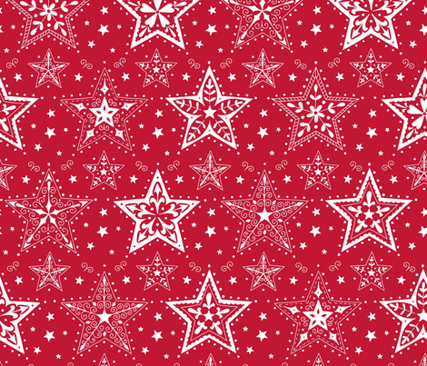 Patterned Christmas Stars red and white fabric by hazelfishercreations on Spoonflower - custom fabric
