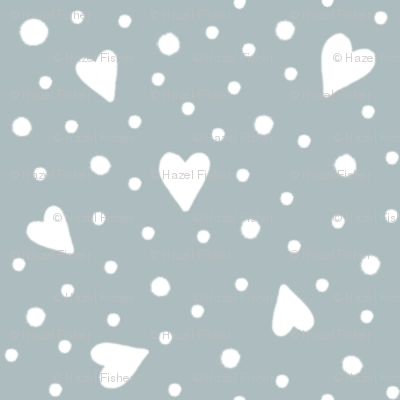 Ditsy Hearts and Spots White on Grey