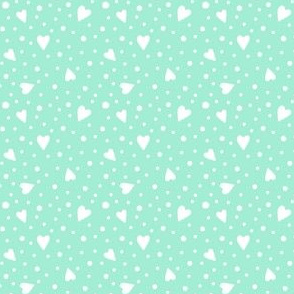 Ditsy Hearts and Spots White on Mint