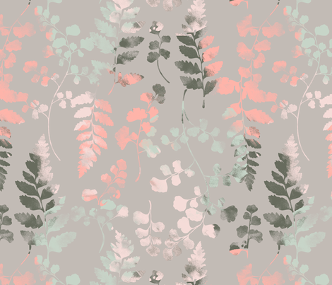 Watercolour Ferns Cloud fabric by phirefly_print on Spoonflower - custom fabric