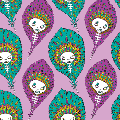 skelly feathers fabric by skellychic on Spoonflower - custom fabric