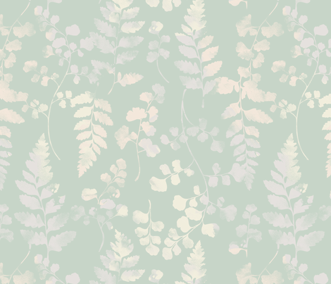 Watercolour Ferns Spearmint fabric by phirefly_print on Spoonflower - custom fabric