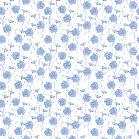 Summer Flax Petite in blueberry fabric by lilyoake on Spoonflower - custom fabric