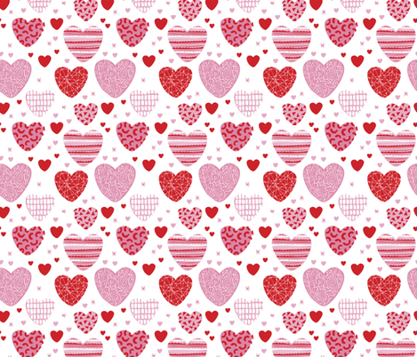 Cute hearts love and romantic wedding theme for kids and lovers valentine pink red fabric by littlesmilemakers on Spoonflower - custom fabric