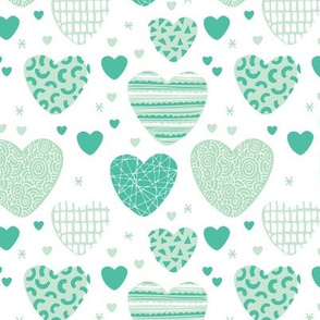 Cute hearts love and romantic wedding theme for kids and lovers valentine mint