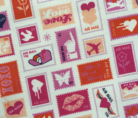 Book of Stamps* (Pink Riot) || postal service snail mail postmark letter airmail par avion geometric wave heart love butterfly envelope special delivery star starburst