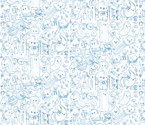 Happy Day Sketches 1 fabric by cuddly_rigor_mortis on Spoonflower - custom fabric